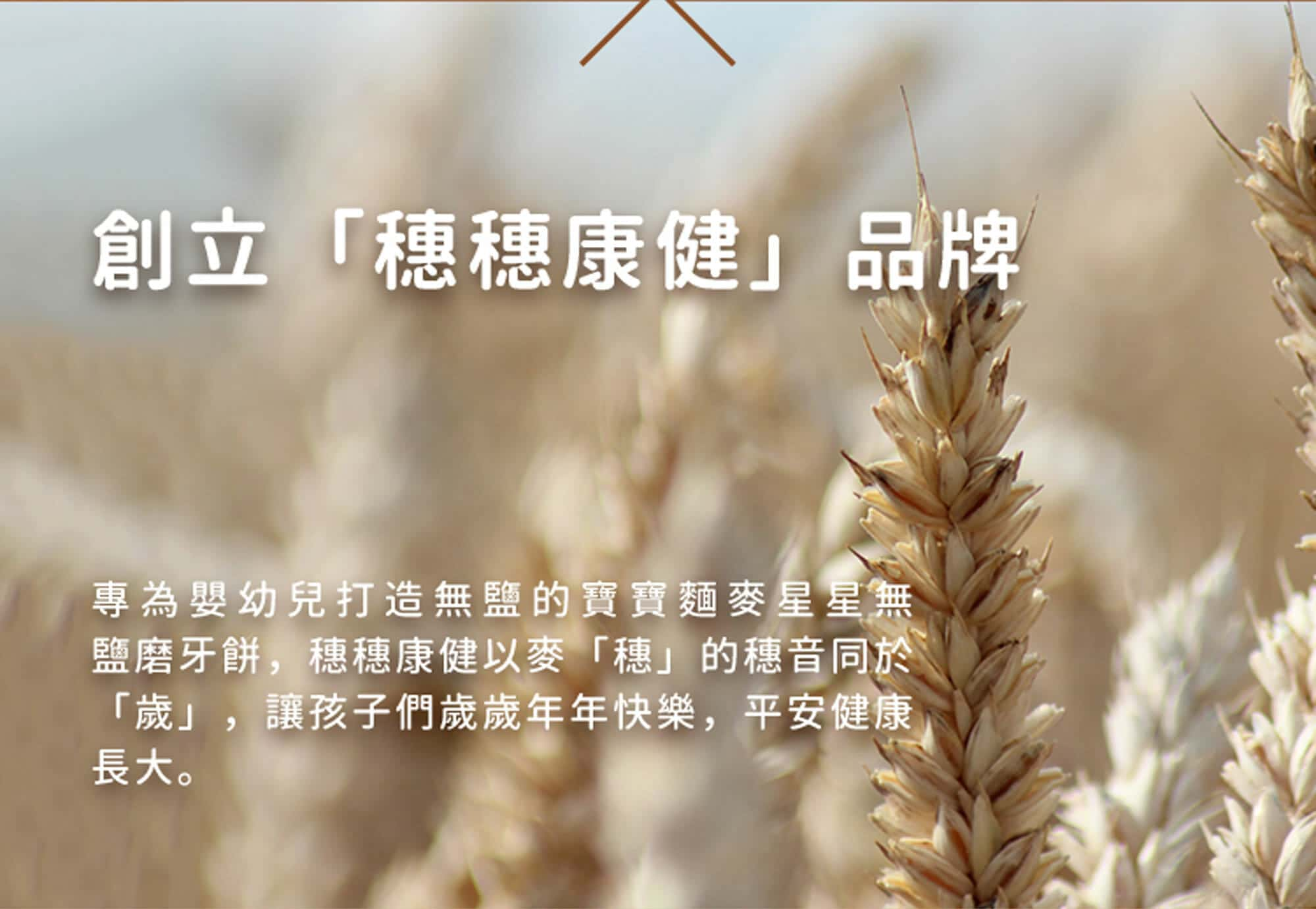 創立穗穗康健,為了打造無鹽的嬰幼兒副食品,以麥「穗」的發音同於「歲」,期望孩子們可以年年快樂,平安健康長大。